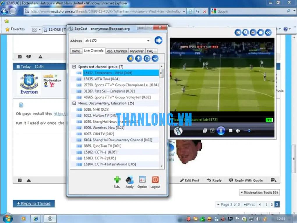 Hướng dẫn xem các trận đấu trên sopcast